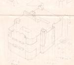 Een schets voor de bouwplaat van Hotel New York