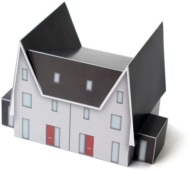 Een bouwplaat van een nieuwbouwwoning