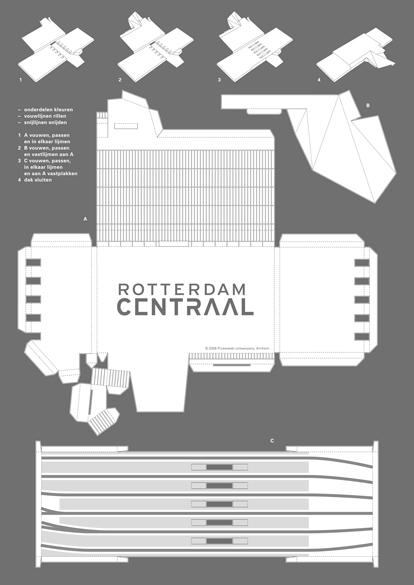 De platte bouwplaat van Rotterdam CS