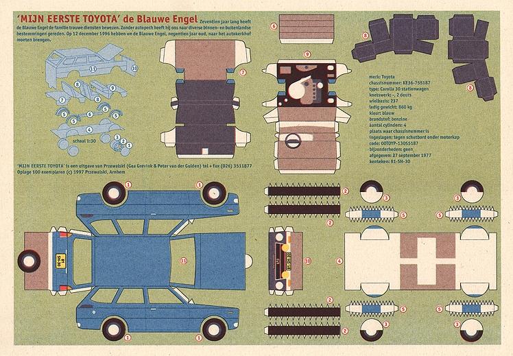 Platte bouwplaat van onze eerste auto