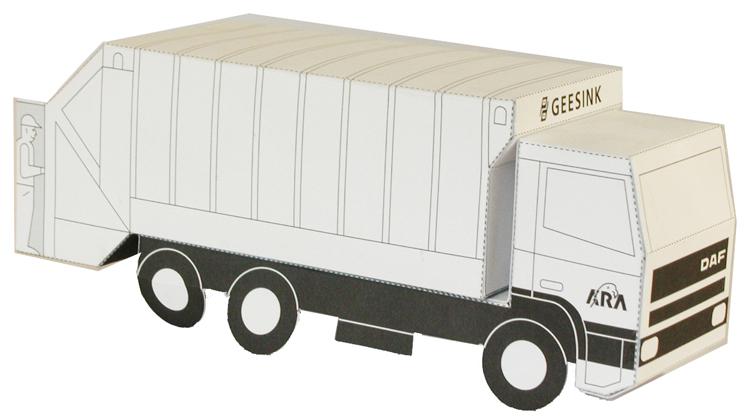 Modelbouwplaat van een vuilniswagen
