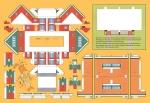 De platte modelbouwplaat van ons huis