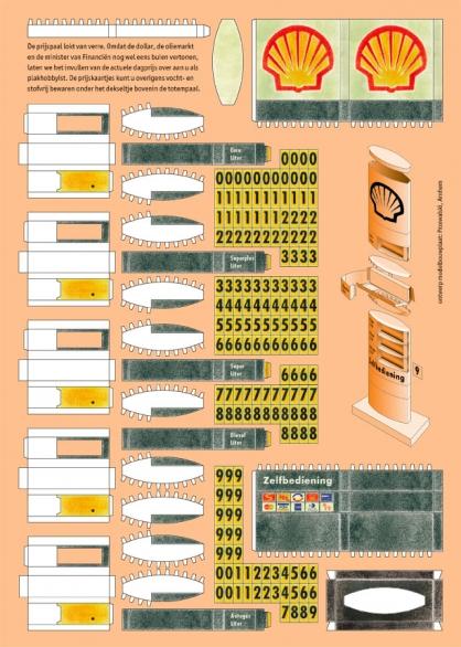 Platte bouwplaat van een prijzenzuil