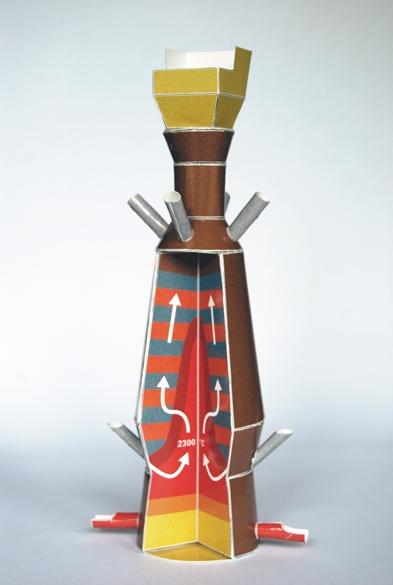 Ruimtelijk modelbouwplaat van een boogoven