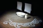 Een gesjabloneerde badkamer op toneel