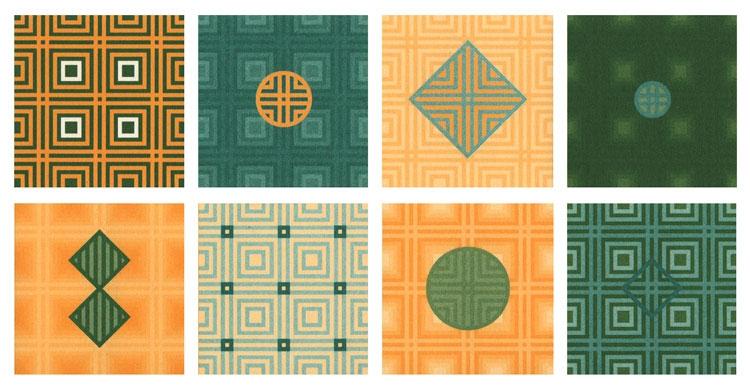 Binnenwerk met geometrische dessins
