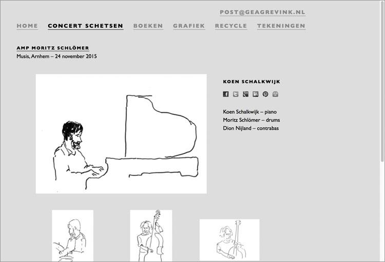 Webpagina met concertschets