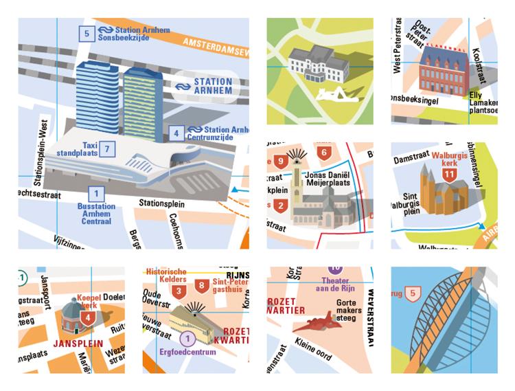 Landmarks op een stadsplattegrond