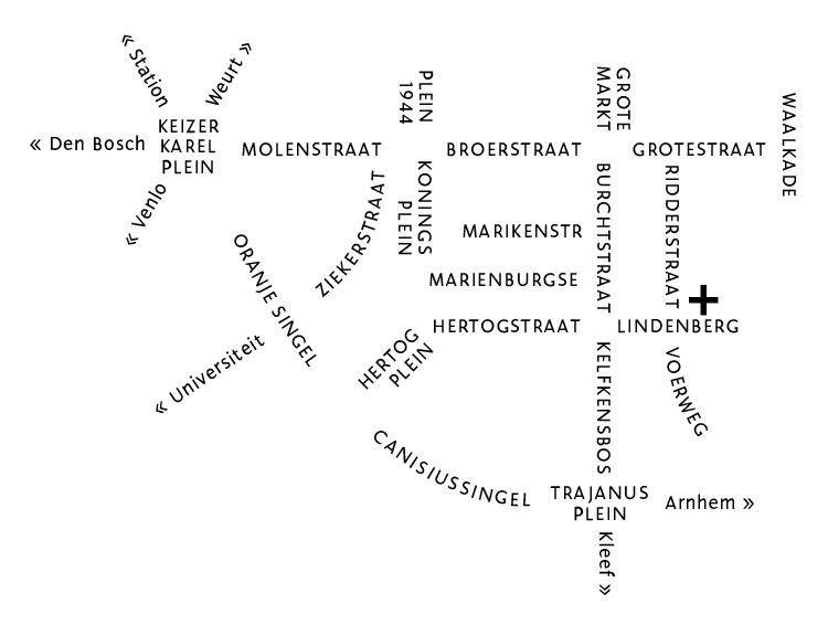 Typografisch kaart van Nijmegen