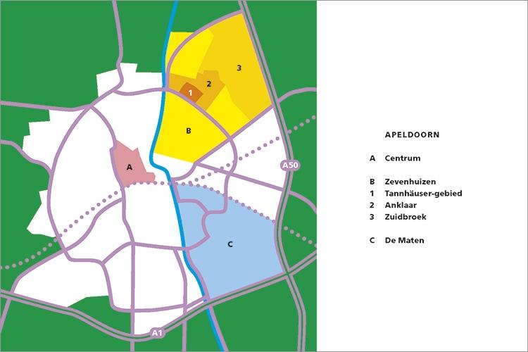 Een schematisch kaart van Apeldoorn