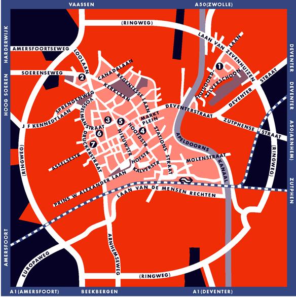 Schematische stadsplattegrond