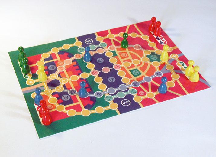 Een bordspel op een ansichtkaart