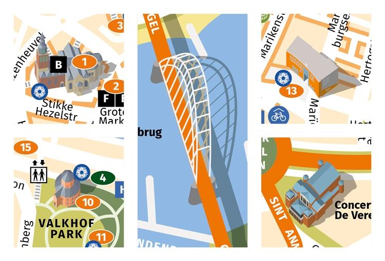 Landmarks op een centrumkaart